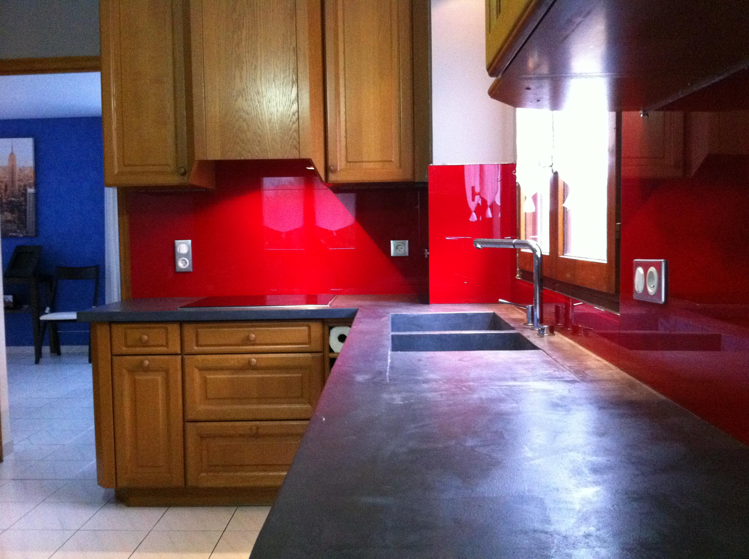 Cr dence en verre tremp laqu verre tremp sur mesure for Credence cuisine rouge
