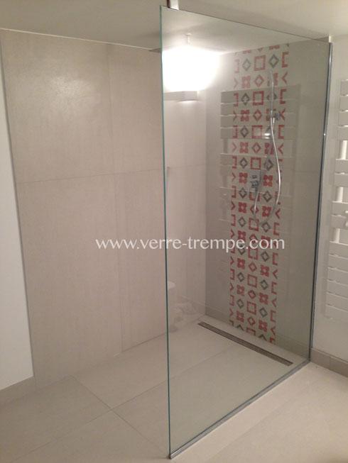 Pare douche en verre trempe clair verre tremp sur mesure for Douche en verre trempe