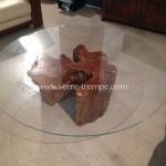 Table basse ronde en verre trempe racine de teck